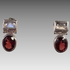 Sterling Rainbow Moonstone Garnet Pierced Earrings