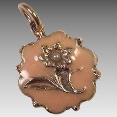 Vintage Gold-Filled Enamel & Seed Pearl Pendant / Charm