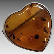 Heart Shaped Honey Amber & Sterling Pin