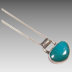 Sterling Silver & Turquoise Pendant With Chain
