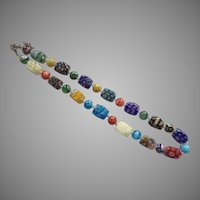 Colorful Artist Made Italian Glass Bead Necklace