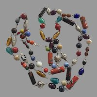 REDUCED Vintage Flapper Length Ethnic Glass Beaded Necklace