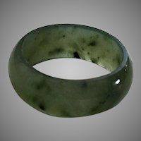 Vintage Dark Green Jade Band Ring