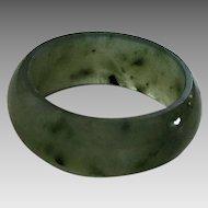 Vintage Dark Green Jade Band Ring