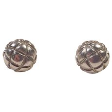 Vintage Sterling Quilted Ball Stud Earrings