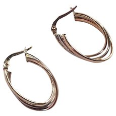 Vintage 14K Italian Tri-Color Gold Hoop Earrings