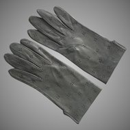 Vintage Gray Pierced Leather Gloves Never Worn