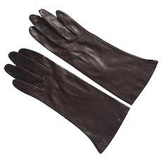 Vintage Dark Brown Leather Gloves Never Worn