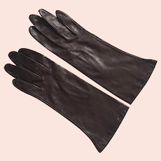Vintage Dark Brown Leather Gloves Never Worn