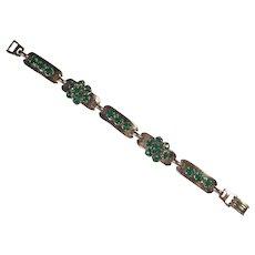 Vintage Barclay Gold Tone & Green Rhinestone Bracelet
