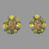 Vintage Hobe Yellow & Green Clip Earrings