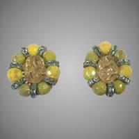 Vintage Hobe Yellow & Green Clip Earrings