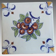 Delft Tile With Cherries Design