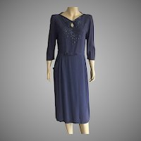 1940's CHD Robbins Original Navy Blue Beaded Dress