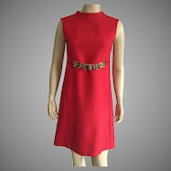 1960's Red Wool Sleeveless Dress With Inset Pockets