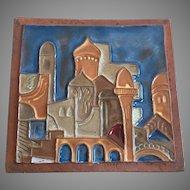 Vintage Israeli Ceramic Relief Handmade Tile By Moshe Sarad