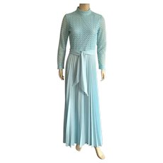Vintage McKay Of Miami Aqua Polyester Formal 1960's 70's NWT