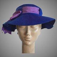 Vintage Henry Pollak New York Royal Blue Wool Felt Hat With Purple Bow