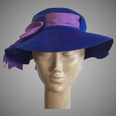 Vintage Henry Pollak New York Royal Blue Wool Felt Hat With Purple Bow