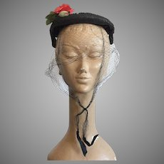 1950's Shallow Black Straw Hat With Veil & Red Rose