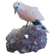 Pink Quartz Bird On Amethyst Base Figurine
