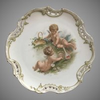 Vintage Hungarian Porcelain Plate With Cherubs Drinking Wine