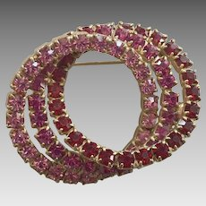 Vintage Interlocked Triple Circle Rhinestone Pin