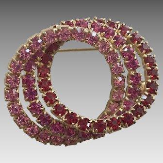 Vintage Interlocked Triple Circle Rhinestone Pin