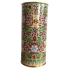 Chinese Tall Cloisonne Vase With Orchids