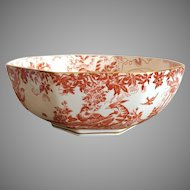 Royal Crown Derby Red Aves Octagonal Serving Bowl