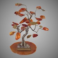 Polish Amber and Brass Good Luck Tree