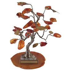 REDUCED Polish Amber and Brass Good Luck Tree