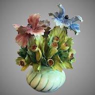 Vintage Capodimonte Flowers In Vase Figurine