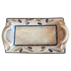 Hand Painted Terracotta Handled Tray From Provence France