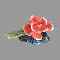 REDUCED Boehm Porcelain Salmon Rose Sculpture Made In England