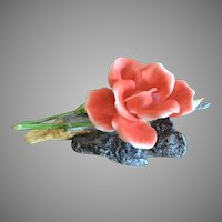 Boehm Porcelain Salmon Rose Sculpture Made In England