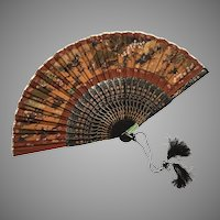 Vintage Chinese Silk Fan Hunting Scene