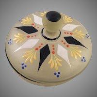 Vintage Czech Glass Hand Painted Powder Jar