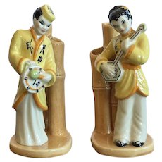 Ceramic Arts Studio Pair Of Asian Musicians Bud Vases