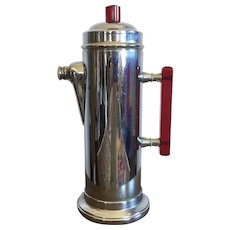 Art Deco Chrome Cocktail Shaker With Clear Red Bakelite