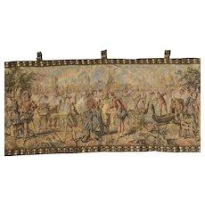 Antique Tapestry Wall Hanging Venetian Scene