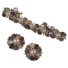 Vintage Signed Jomaz Fruit Salad Bracelet & Earring Set