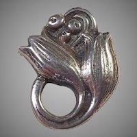 Vintage Art Nouveau Sterling Floral Pin