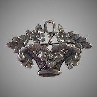 Vintage Cini Sterling Flower Basket Pin