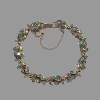 Hollycraft Aurora Borealis Green Rhinestone Bracelet 1957