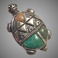 Carolyn Pollack Relios Sterling Turtle Pin / Pendant With Turquoise & Opal