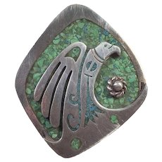 Vintage Mexican Sterling Crushed Turquoise Eagle Pin