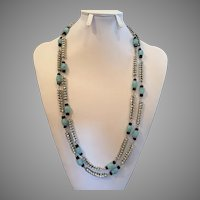 Vintage Rhinestone & Art Glass Long Necklace