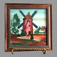 REDUCED Vintage Signed Framed Hand Painted Tile Windmill Scene
