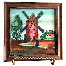 Vintage Signed Framed Hand Painted Tile Windmill Scene